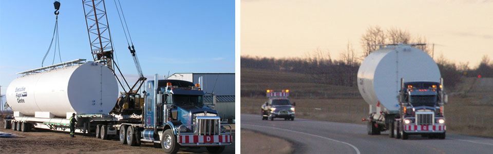 Transporting a tanker with Calgary hot shot services