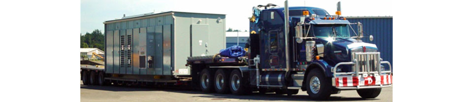 Semi transporting a container
