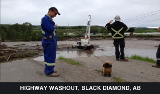 highway washout, black diamond, ab